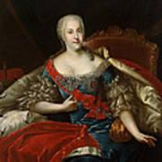 Portrait Of Johanna-elizabeth, Electress Of Anhalt-zerbst, C.1746 Oil On Canvas Poster