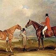 Portrait Of John Drummond On A Hunter With A Groom Holding His Second Horse Poster