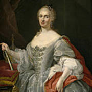 Portrait Of Maria Amalia Of Saxony As Queen Of Naples Overlooking The Neapolitan Crown Poster