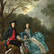 Portrait Of The Artist With His Wife And Daughter Poster
