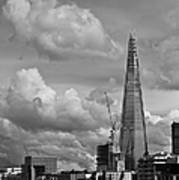 Portrait Of The Shard Black And White Version Poster