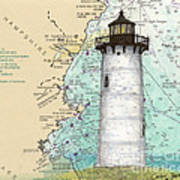 Portsmouth Harbor Lighthouse Nh Nautical Chart Map Art Poster