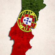 Portugal Map Art With Flag Design Poster