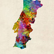 Portugal Watercolor Map Poster by Michael Tompsett