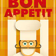 Poster With A Comic Chef. Vector Poster
