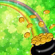 Pot Of Gold Shamrock Blurred Background Poster
