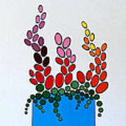 Potted Blooms - Blue Poster