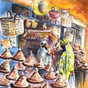Pottery Seller In Essaouira Poster