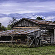 Pottsville Arkansas Historic Log Barn Poster