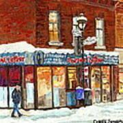 Poutine Lafleur Rue Wellington Verdun Art Montreal Paintings Cold Winter Walk City Shops Cspandau   Poster
