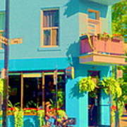 Powder Blue Corner Cafe Elses Pub Rue Roy  Montreal Sunny Summer Cafe Scene Carole Spandau Poster
