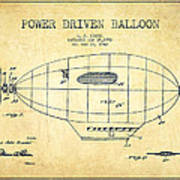 Power Driven Balloon Patent-vintage Poster
