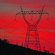 Power Lines Just After Sunset Poster