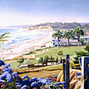Powerhouse Beach Del Mar Blue Poster by Mary Helmreich