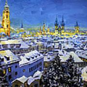 Prague After Snow Fall Poster