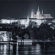 Prague Castle At Night Poster