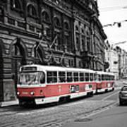 Prague Tram Vintage Poster