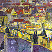 Prague Violet Panorama Night Light Charles Bridge Poster by Yuriy Shevchuk