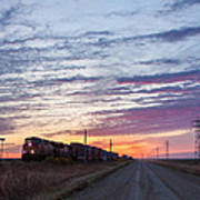 Prairie Sunrise With Train Poster