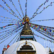 Prayer Flags And Stupa In Kathmandu Poster