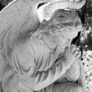 Praying Male Angel Near Infrared Black And White Poster