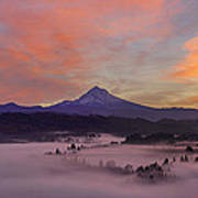 Pre Sunrise Over Mount Hood Panorama Poster