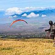 Preparing For Take Off - Paragliders Taking Off High Over Maui. Poster