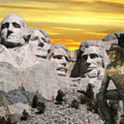President Reagan At Mount Rushmore Poster
