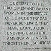 President Truman's Dedication To World War Two Vets Poster