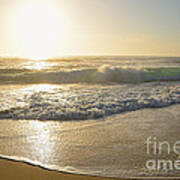 Pretty Waves At Glowing Sunrise By Kaye Menner Poster