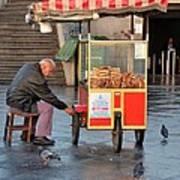 Pretzel Seller With Pushcart Istanbul Turkey Poster