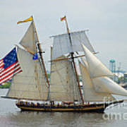 Pride Of Baltimore II Passing By Fort Mchenry Poster