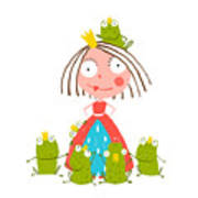 Princess And Many Prince Frogs Portrait Poster