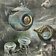 Professor Beebe In His  Bathysphere Poster