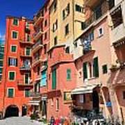 promenade and homes in Camogli Poster