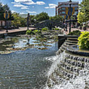 Promenade And Waterfall In Carroll Creek Park In Frederick Mary Poster