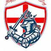Proud To Be English Happy St George Day Shield Card Poster by Aloysius Patrimonio