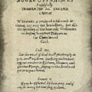 Psalms Hand Written Book Plate 1640 Poster