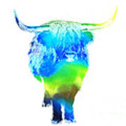 Psychedelic Bovine #2 Poster by Pixel  Chimp