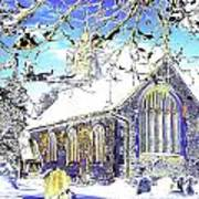 Psychedelic English Village Church In Winter Poster