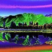 Psychedelic Lake Matheson Ner Zealand 3 Poster