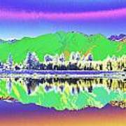 Psychedelic Mirror Lake New Zealand 3 Poster