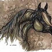 Psychodelic Grey Horse Original Painting Poster