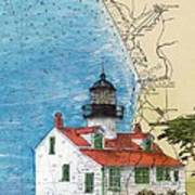 Pt Pinos Lighthouse Ca Nautical Chart Map Art Cathy Peek Poster