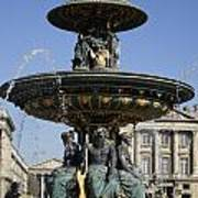 Public Fountain At The Place De La Concorde In Paris France Poster