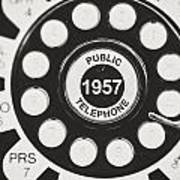 Public Telephone 1957 In Black And White Retro Poster
