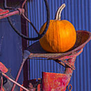 Pumpkin On Tractor Seat Poster