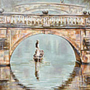 Punting On River Cam Under Clare Bridge Poster