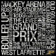 Purdue College Colors Subway Art Poster by Replay Photos