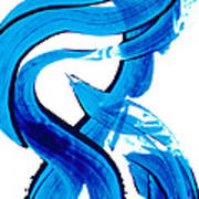 Pure Water 302 - Blue Abstract Art By Sharon Cummings Poster